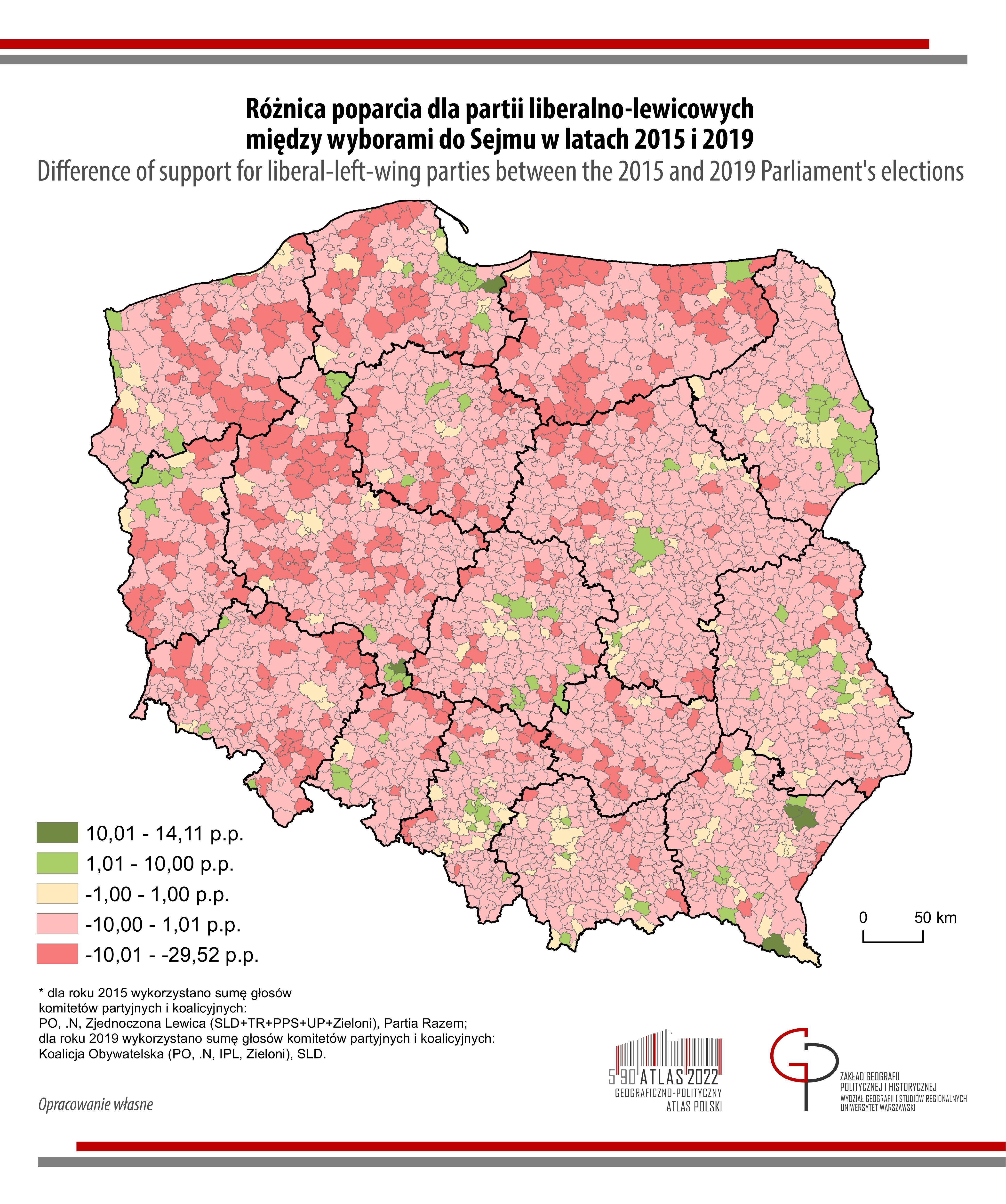 MAPA TYGODNIA: Różnice poparcia dla opozycji liberalno-lewicowej w wyborach do Sejmu w latach 2015-2019