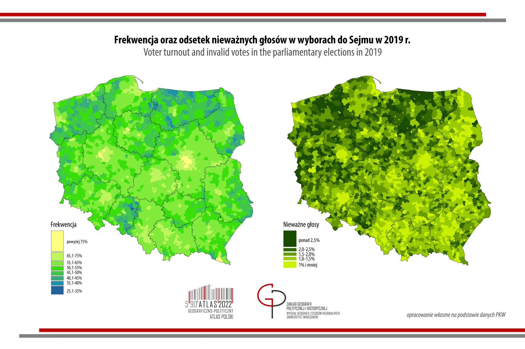 MAPA TYGODNIA - wybory do Sejmu 2019 frekwencja i głosy nieważne