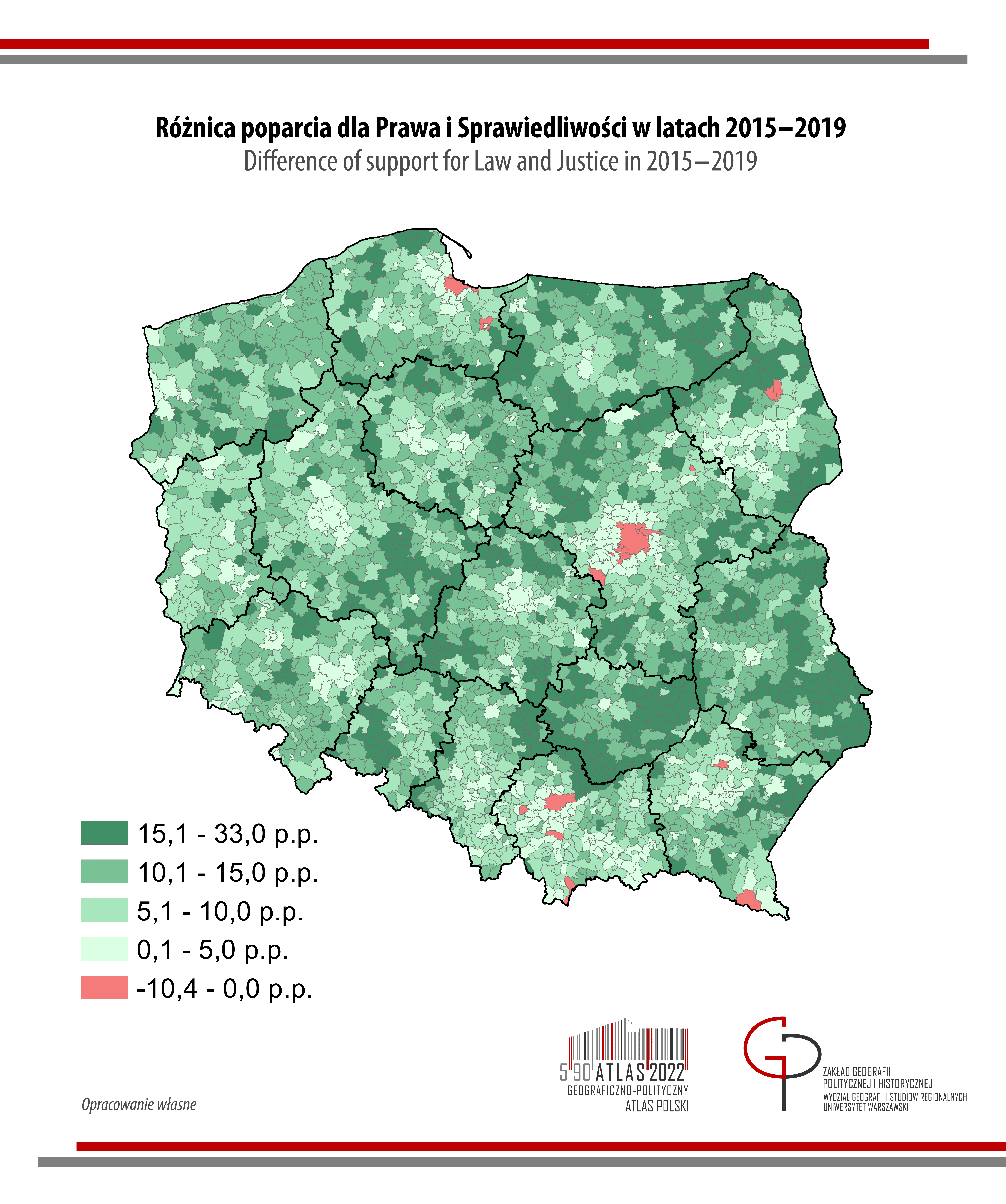 MAPA TYGODNIA: Różnica poparcia dla Prawa i Sprawiedliwości w wyborach do Sejmu w latach 2015-2019