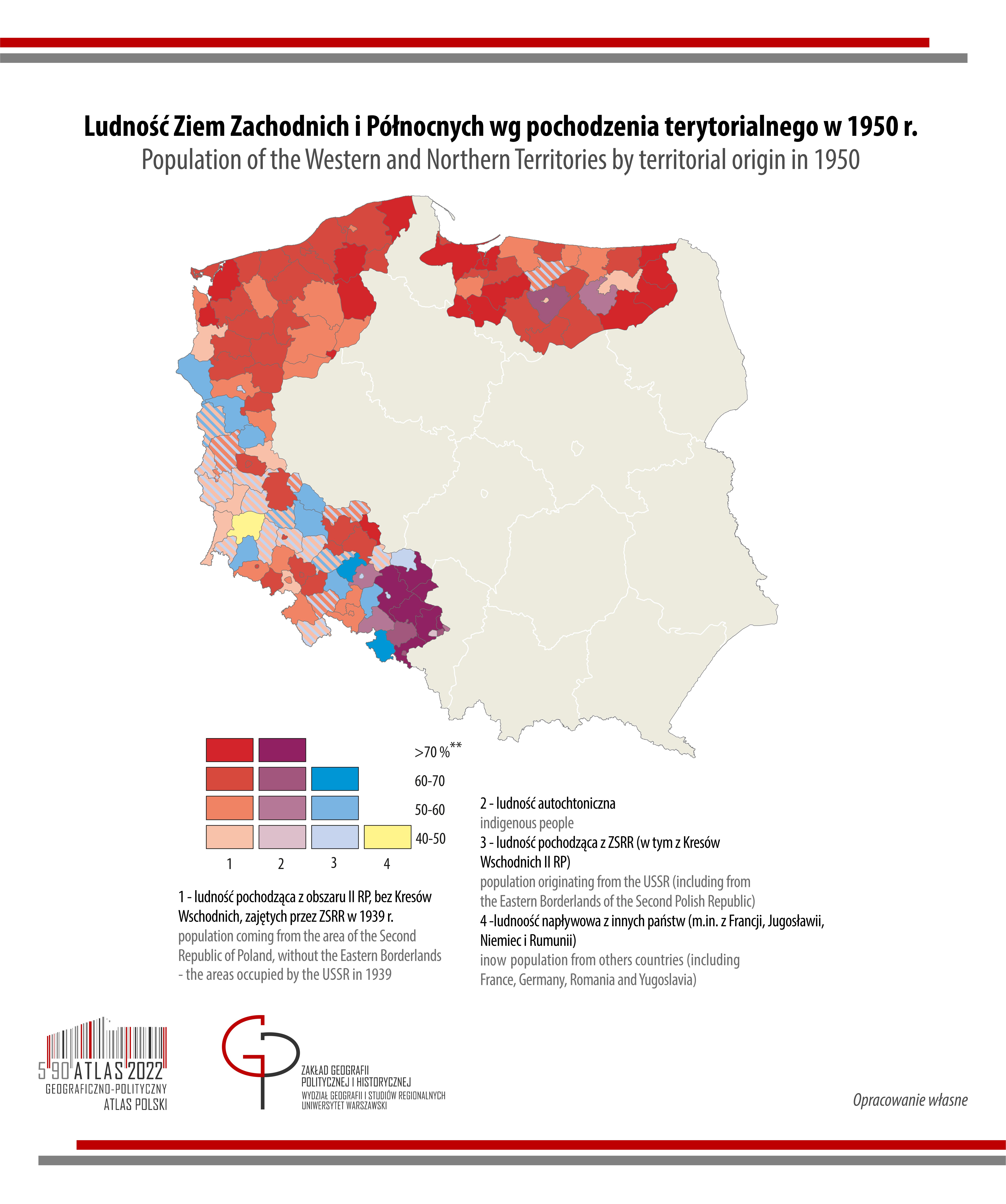 MAPA TYGODNIA: Ludność Ziem Zachodnich i Północnych wg pochodzenia terytorialnego w 1950 r.