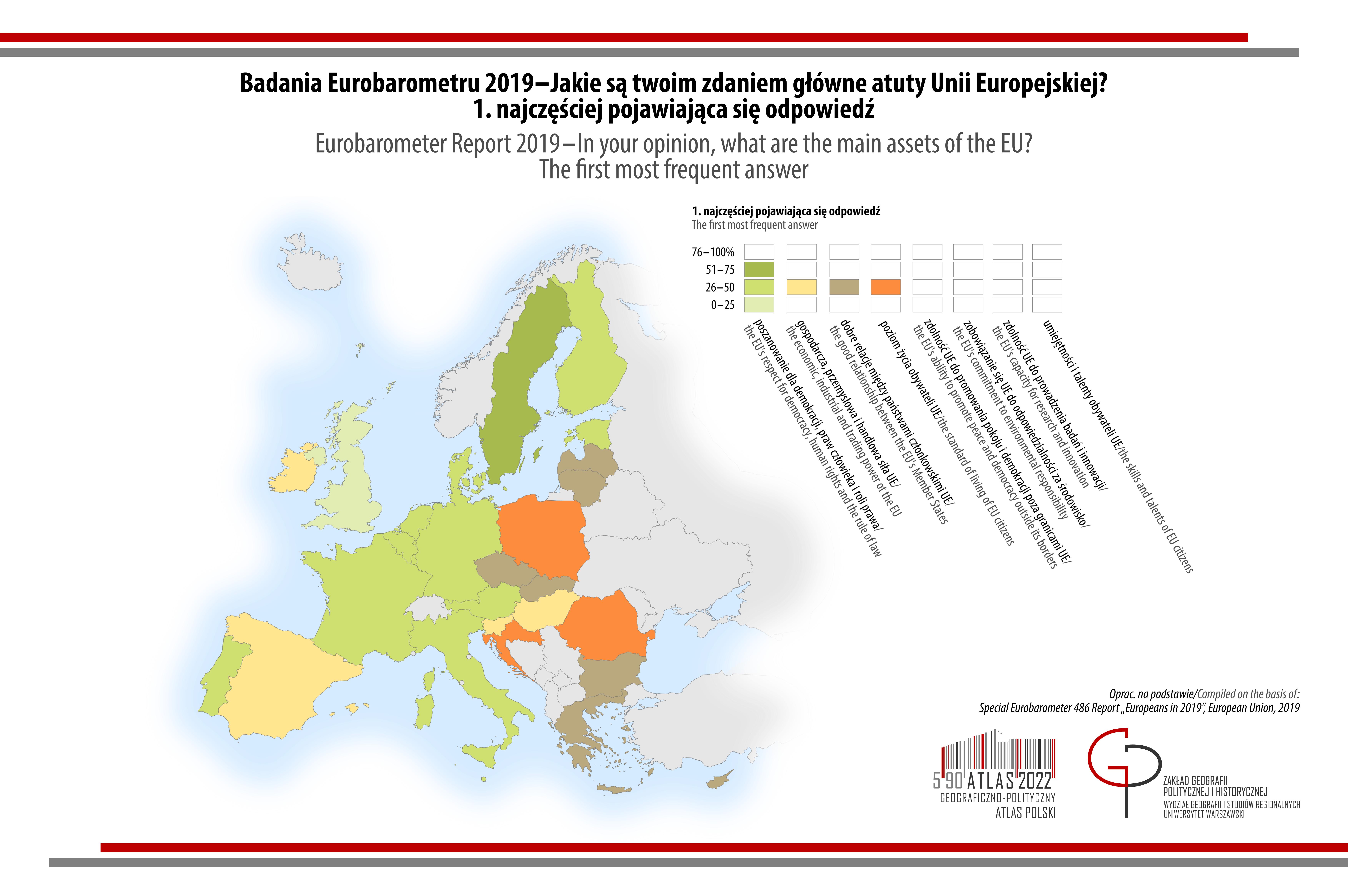 MAPA TYGODNIA: Eurobarometr - Jakie są Twoim zdaniem główne atuty Unii Europejskiej? Pierwsza najczęściej pojawiająca się odpowiedź.