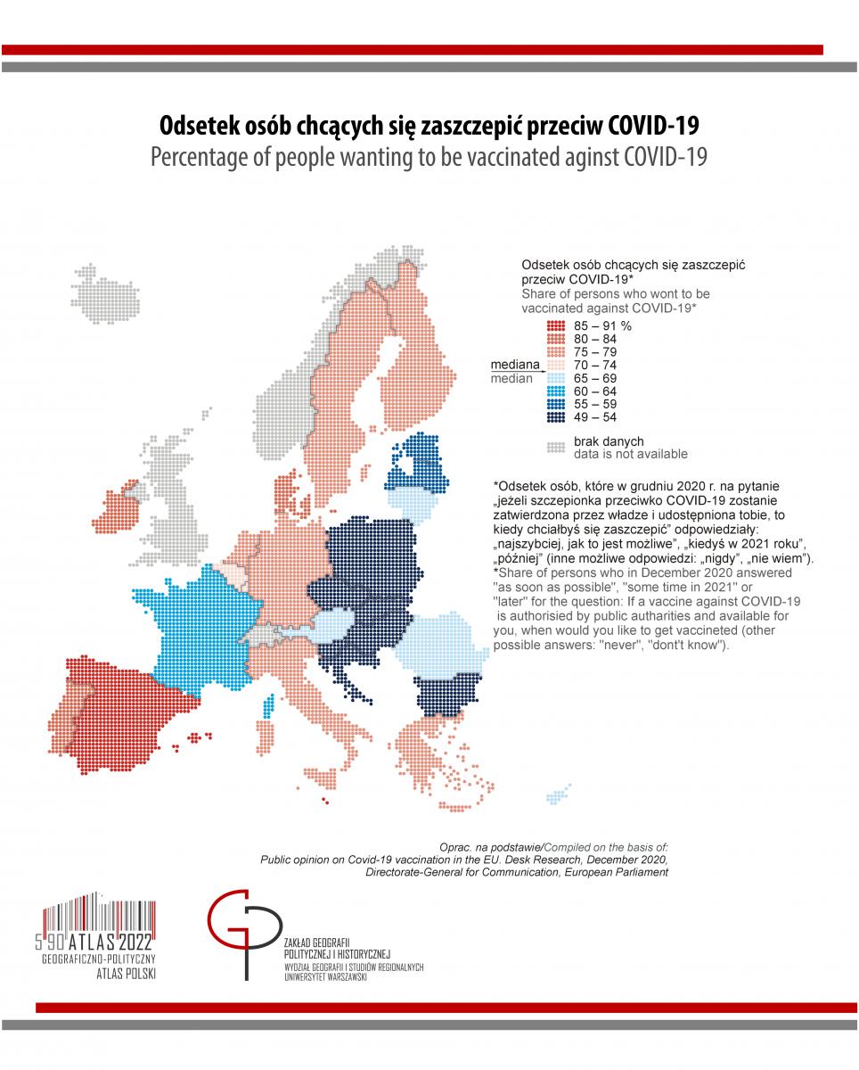 PIĄTKOWY POSTA PANDEMICZNY: Unia Europejska – chęć zaszczepienia się przeciwko COVID